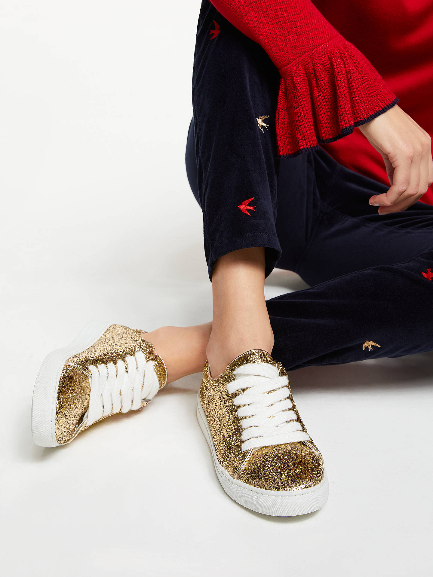BuyBoden Classic Trainers, Gold, 8 Online at johnlewis.com