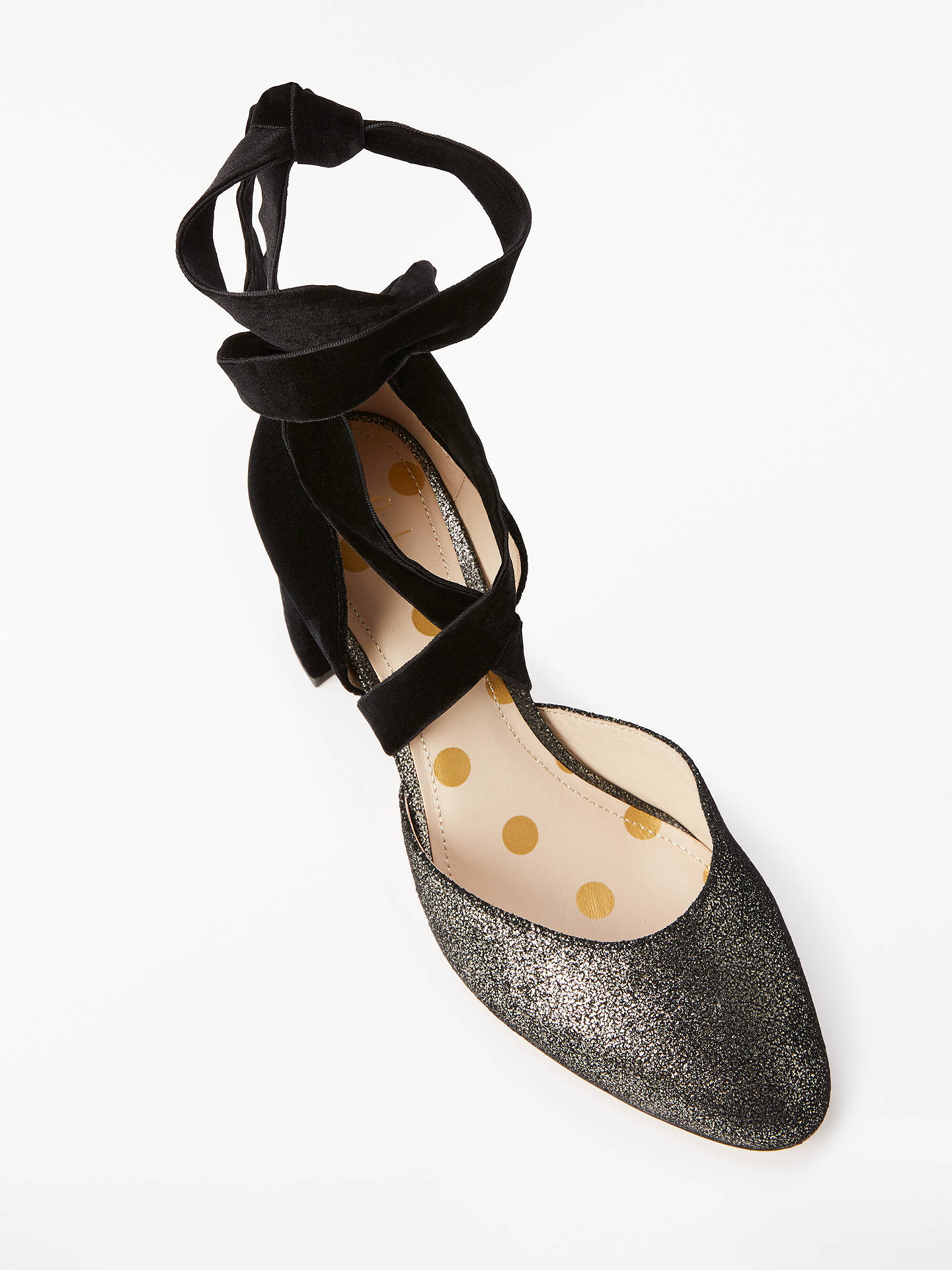 Buy Boden Phoebe Ankle Tie Block Heel Court Shoes, Black/Silver, 6 Online at johnlewis.com