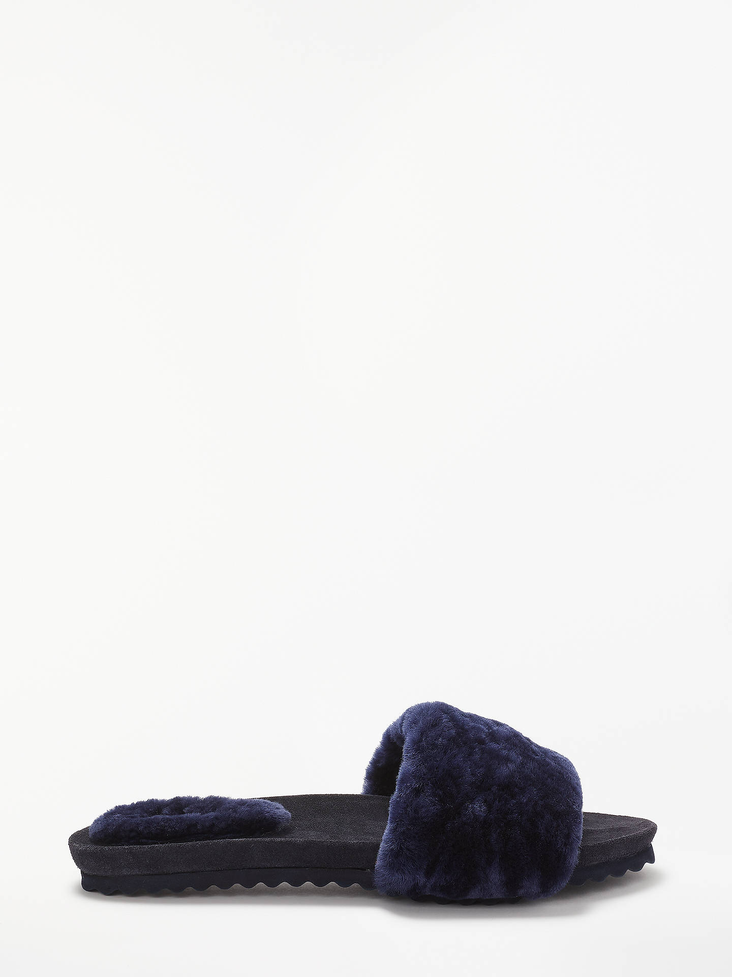 5fc812704c116 Boden Shearling Lounge Slide Slippers, Navy at John Lewis & Partners