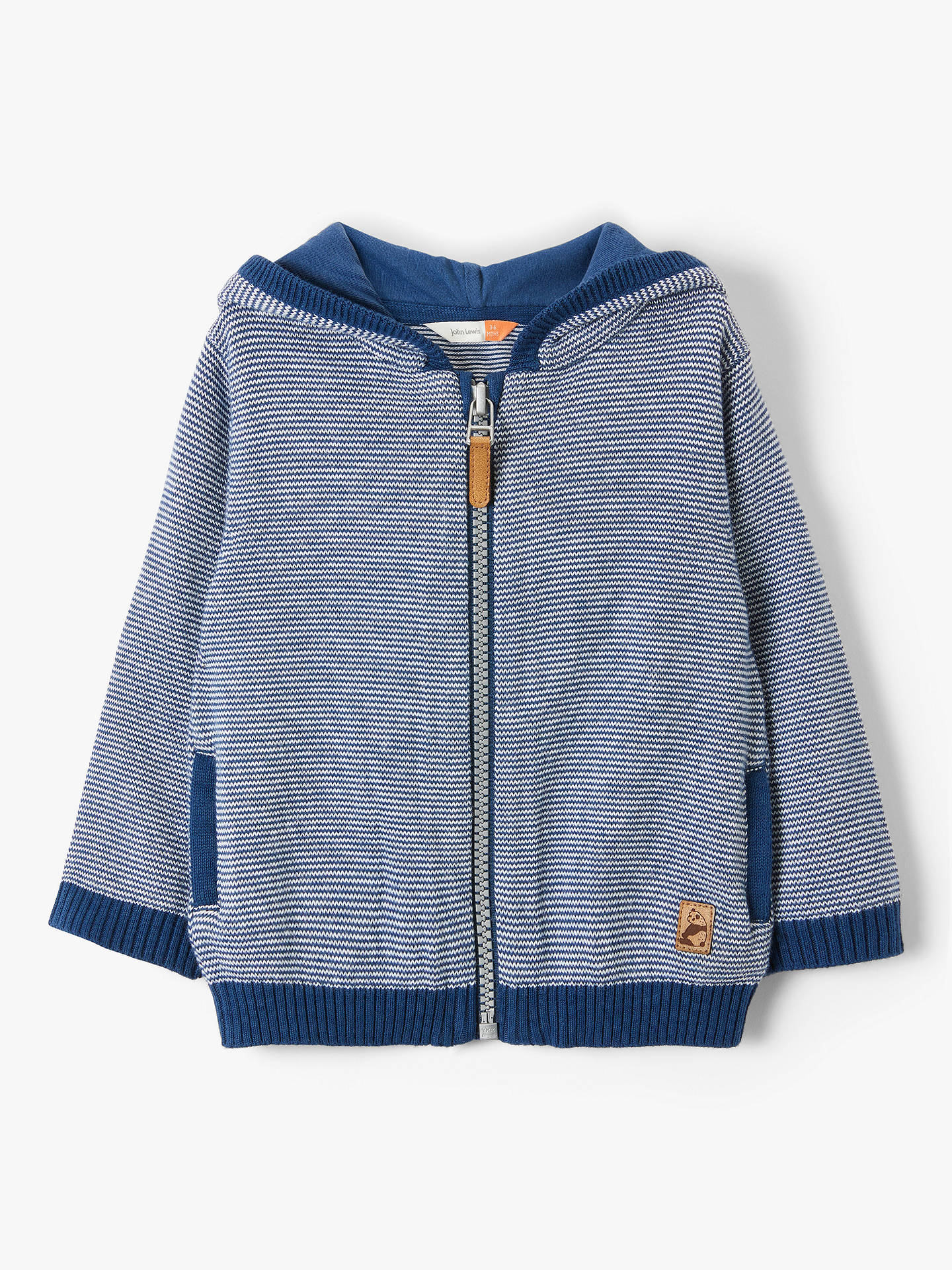 cdfc3001c7f2 BuyJohn Lewis & Partners Baby Organic Cotton Stripe Knitted Hoodie, Blue,  9-12 ...