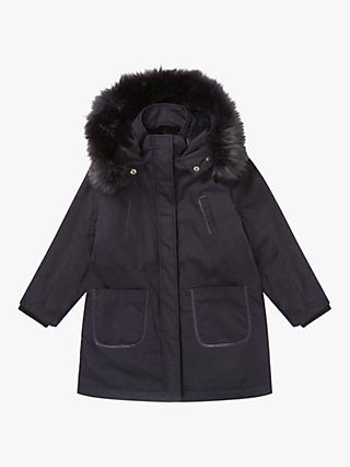 Jigsaw Girls' Cosy Parka Coat, Navy