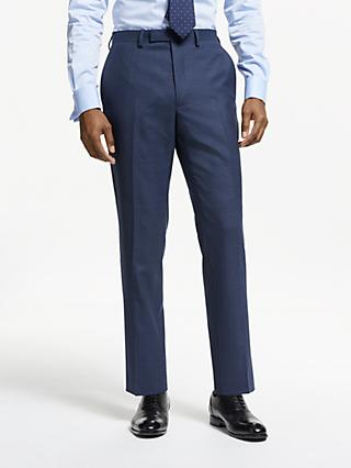 John Lewis & Partners Wool Puppytooth Slim Fit Suit Trousers, Blue