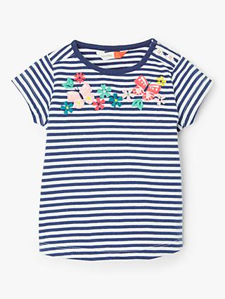 John Lewis & Partners Baby GOTS Organic Cotton Butterfly Stripe Top, Blue