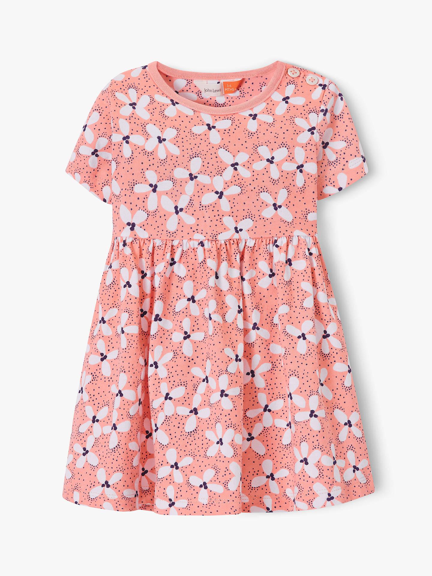465e6f197 Buy John Lewis & Partners Baby GOTS Organic Cotton Floral Jersey Dress,  Pink, 2 ...