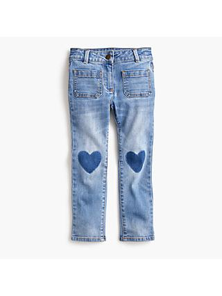 crewcuts by J.Crew Girls' Heart Knee Patch Denim Jeans, Blue