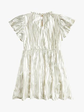 crewcuts by J.Crew Girls' Shimmery Pleated Dress, Silver