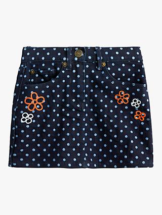 crewcuts by J.Crew Girls' Polka Dot Denim Skirt, Dark Indigo