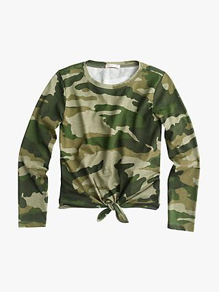crewcuts by J.Crew Girls' Courtney Camouflage Tie T-Shirt, Green