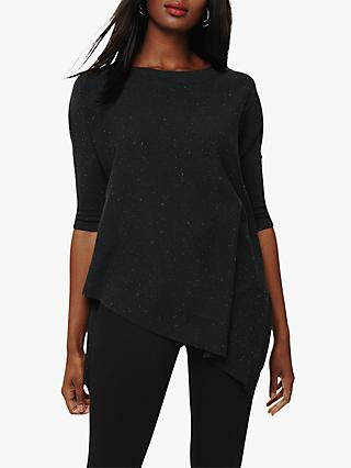 Phase Eight Ally Fleck Asymmetric Hem Knitted Jumper, Pine