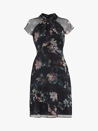 Phase Eight Imogen Twist Neck Floral Dress, Black/Multi