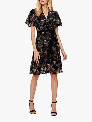 Phase Eight Raquel Velvet Burnout Dress, Black Multi