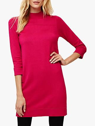 Phase Eight Funnel Neck Knit Dress, Fuchsia