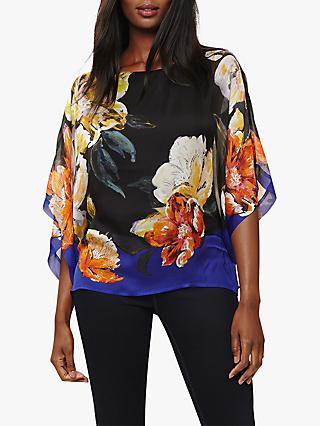 Phase Eight Elizabeth Silk Blouse, Black/Multi