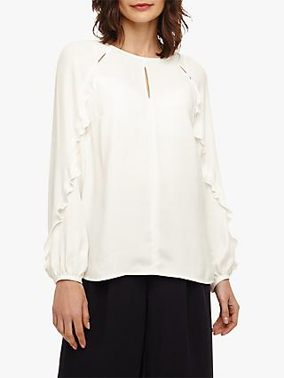Phase Eight Frill Sleeve Finn Blouse, Ivory