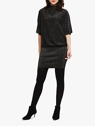 Phase Eight Blouson Becca Shimmer Dress, Black