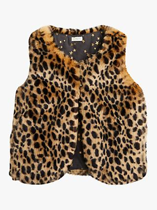 crewcuts by J.Crew Girls' Leopard Print Faux Fur Gilet, Brown
