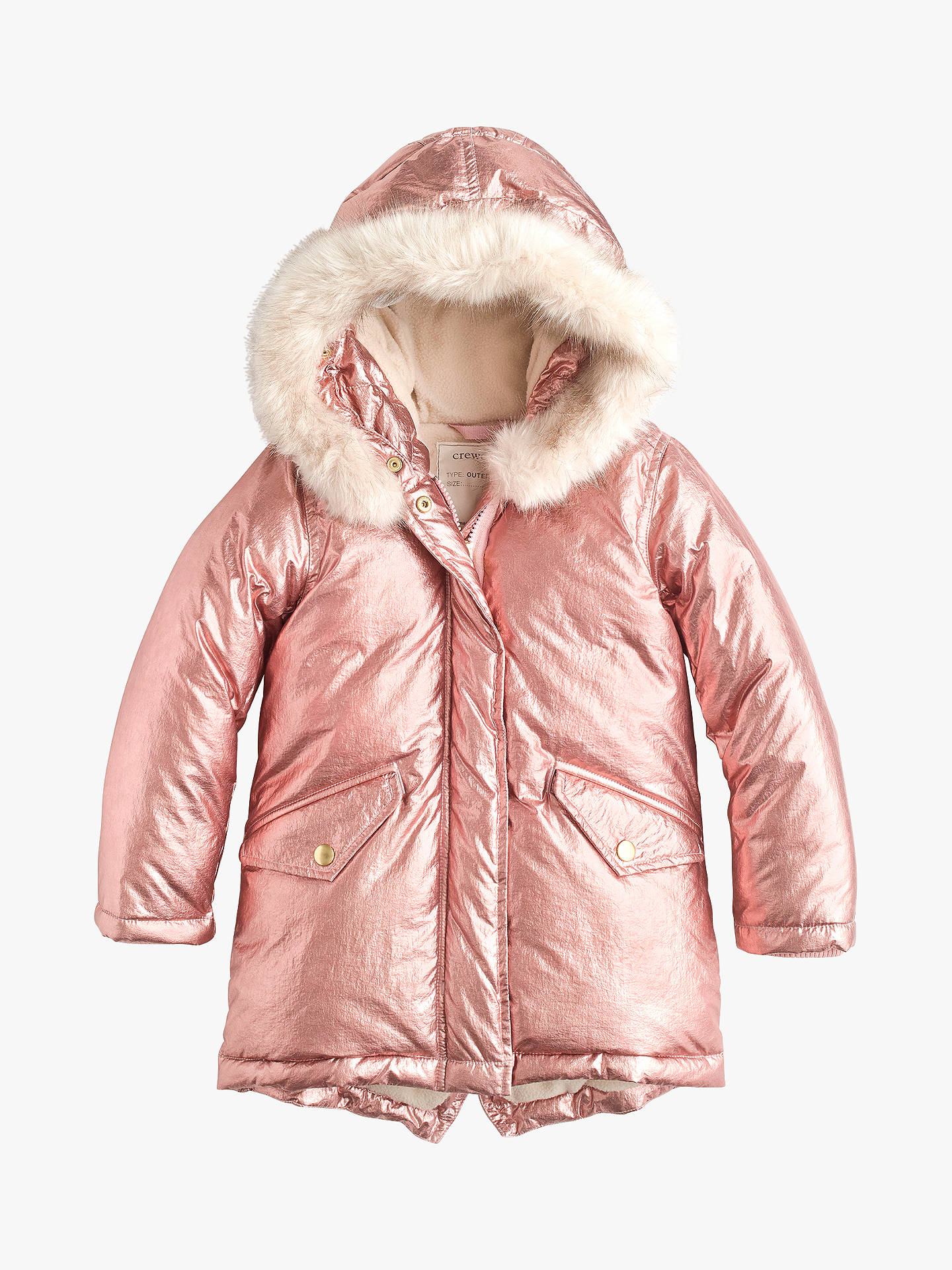 bdef21e47 crewcuts by J.Crew Girls' Metallic Puffer Jacket, Rose Gold at John ...