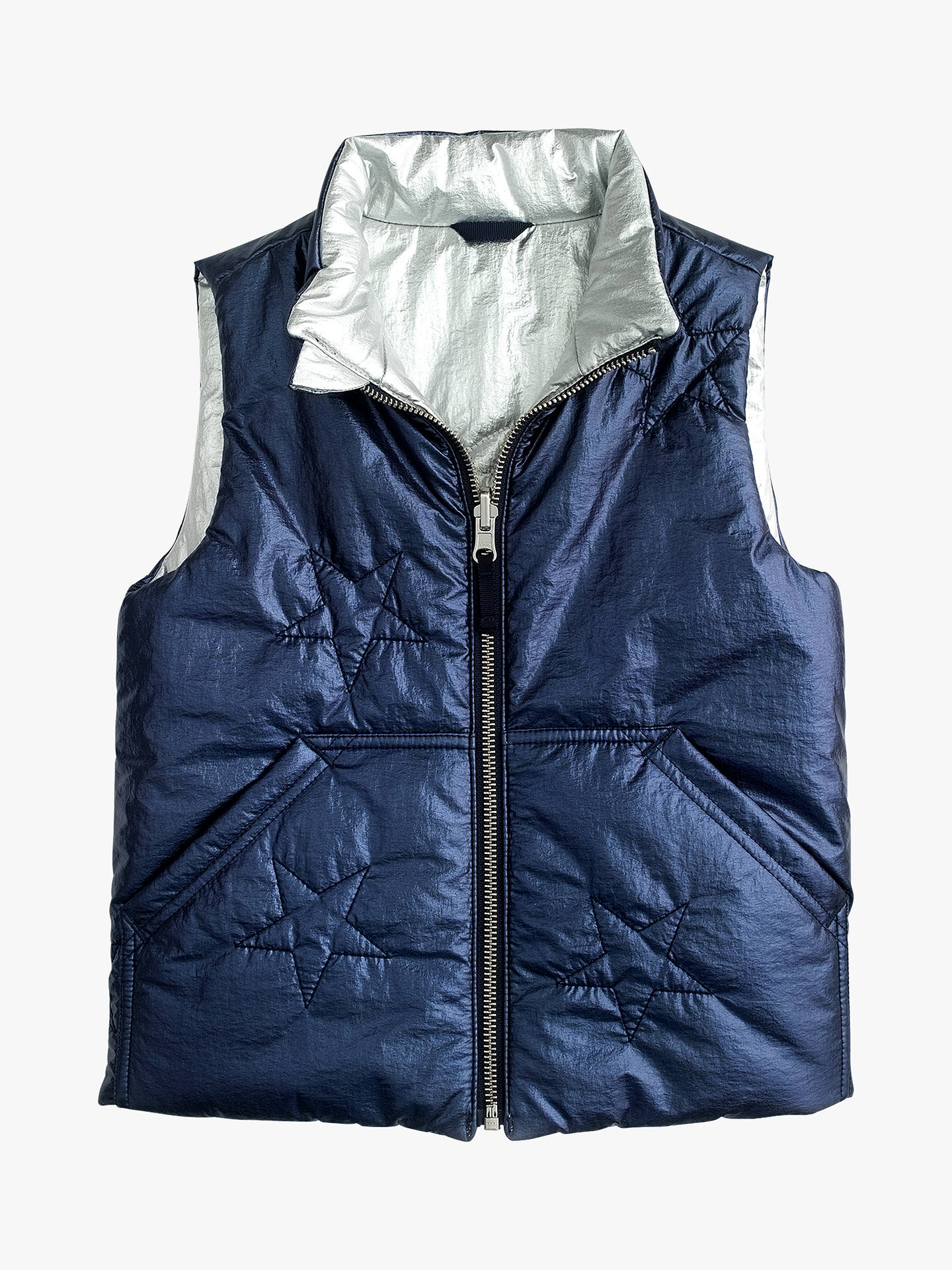 45783c9ece5f0 Buy crewcuts by J.Crew Girls' Reversible Metallic Padded Vest, Navy/Silver  ...