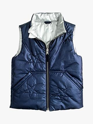crewcuts by J.Crew Girls' Reversible Metallic Padded Vest, Navy/Silver