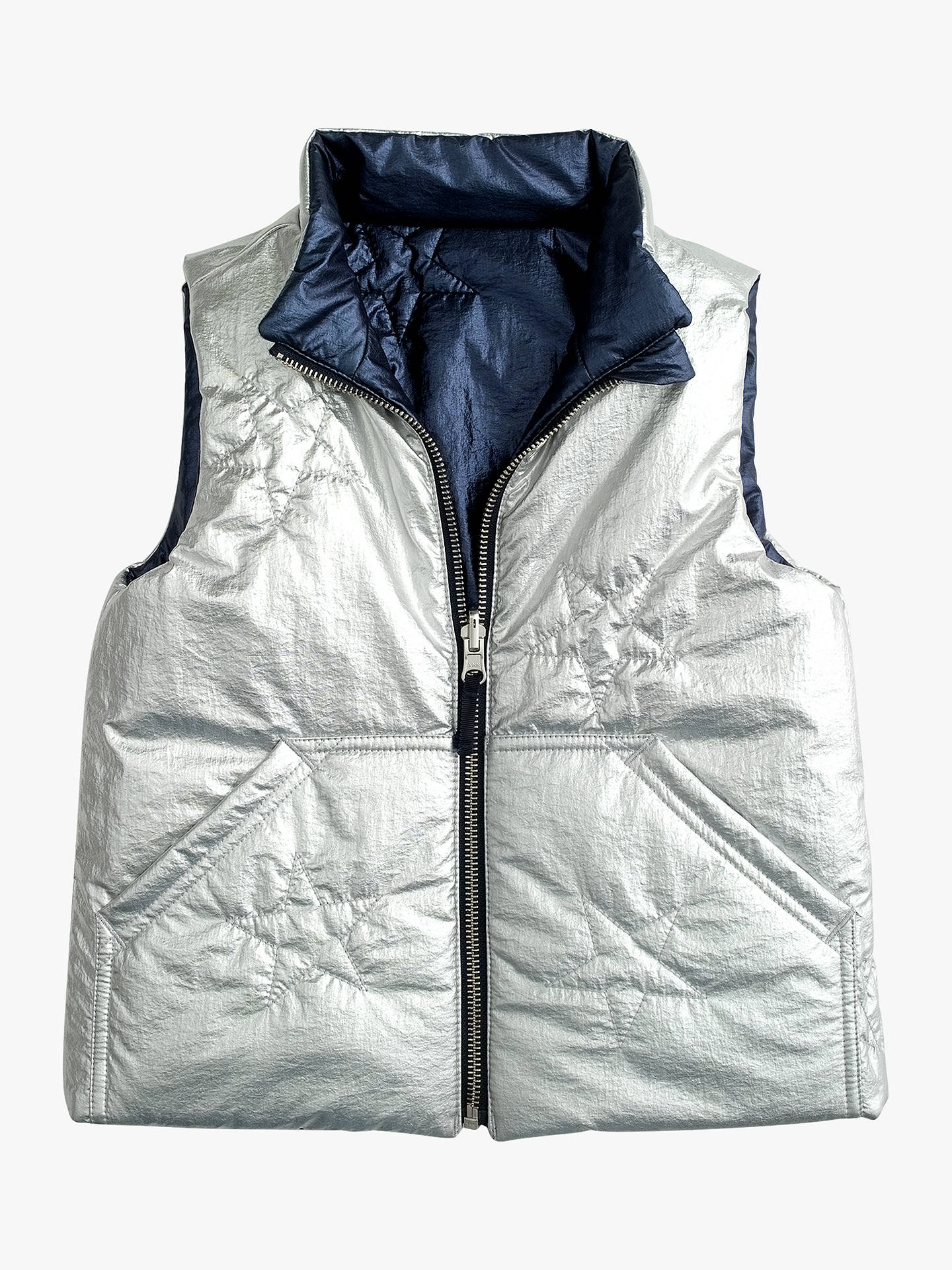 28d490a30c651 ... Buy crewcuts by J.Crew Girls' Reversible Metallic Padded Vest, Navy /Silver