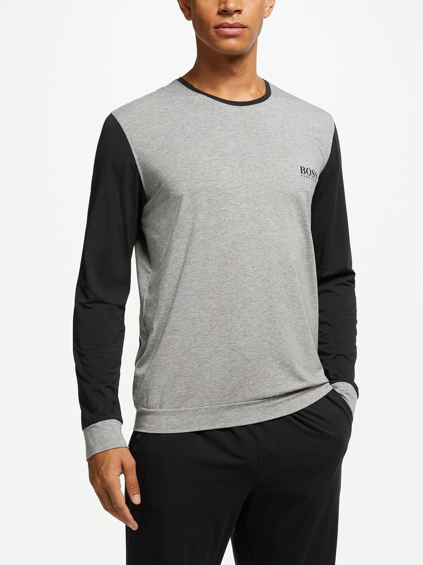 46b97d3ef7 Buy BOSS Balance Contrast Detail Jersey Pyjama Top, Grey/Black, M Online at  ...