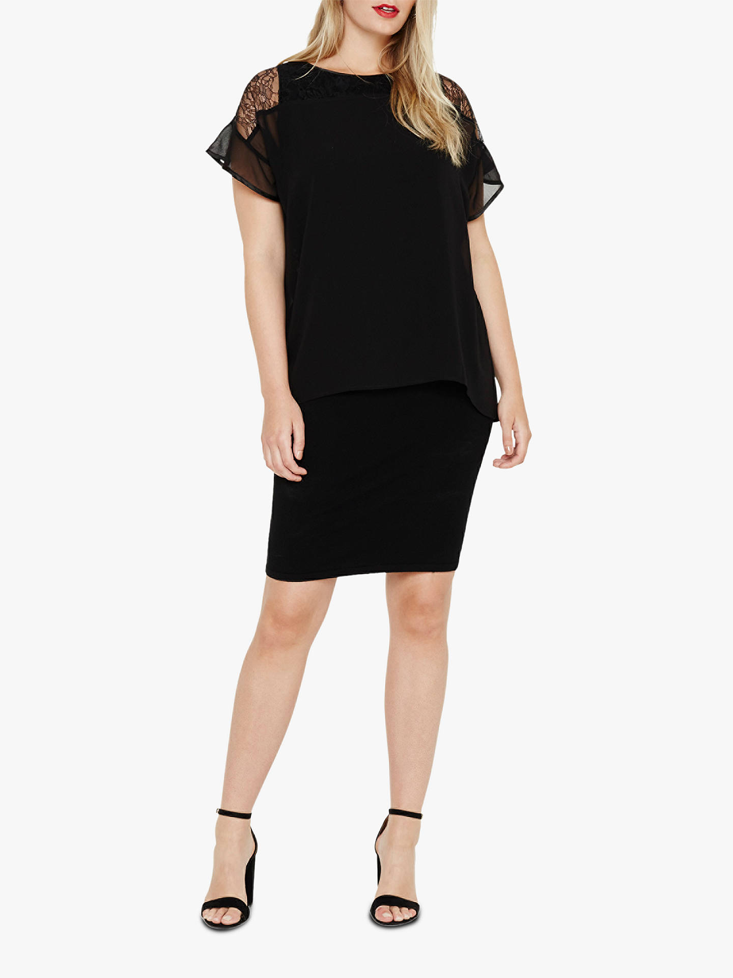 BuyStudio 8 Double Layer Dress, Black, 20 Online at johnlewis.com