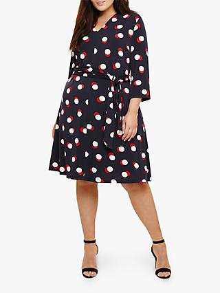 Studio 8 Anne Spot Dress, Navy/Multi