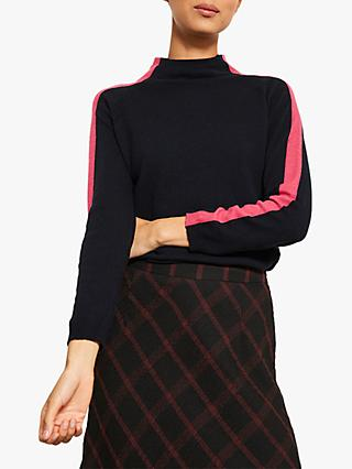 Mint Velvet Funnel Neck Knit Jumper, Navy/Pink