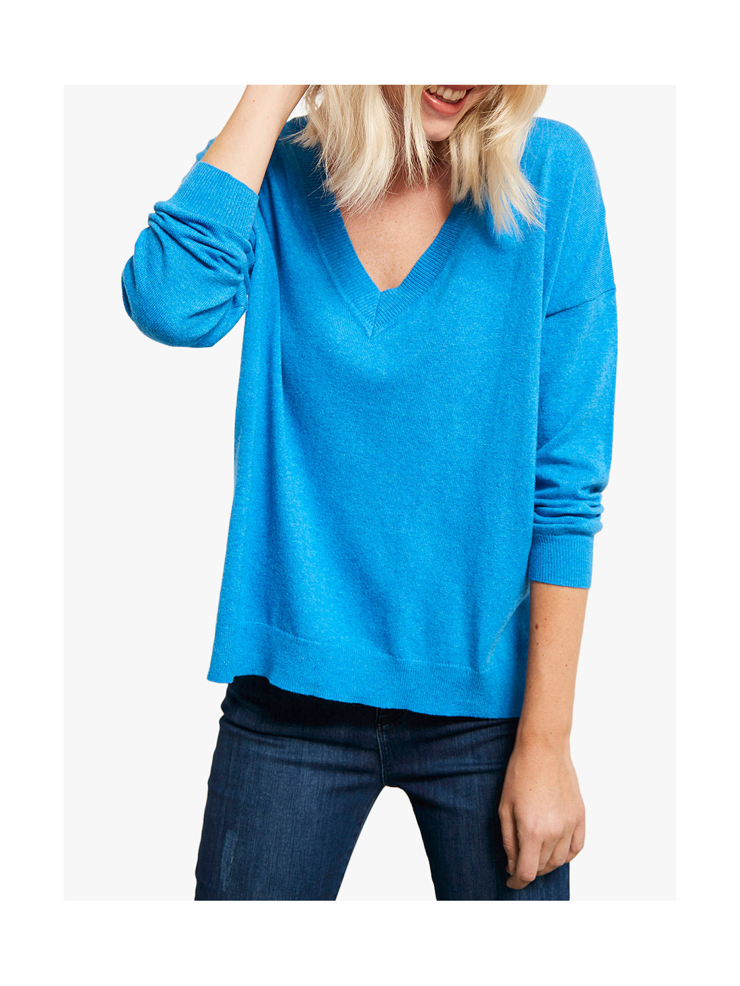Buy Mint Velvet Blue Marl V-Neck Box Jumper, Blue, XL Online at johnlewis.com