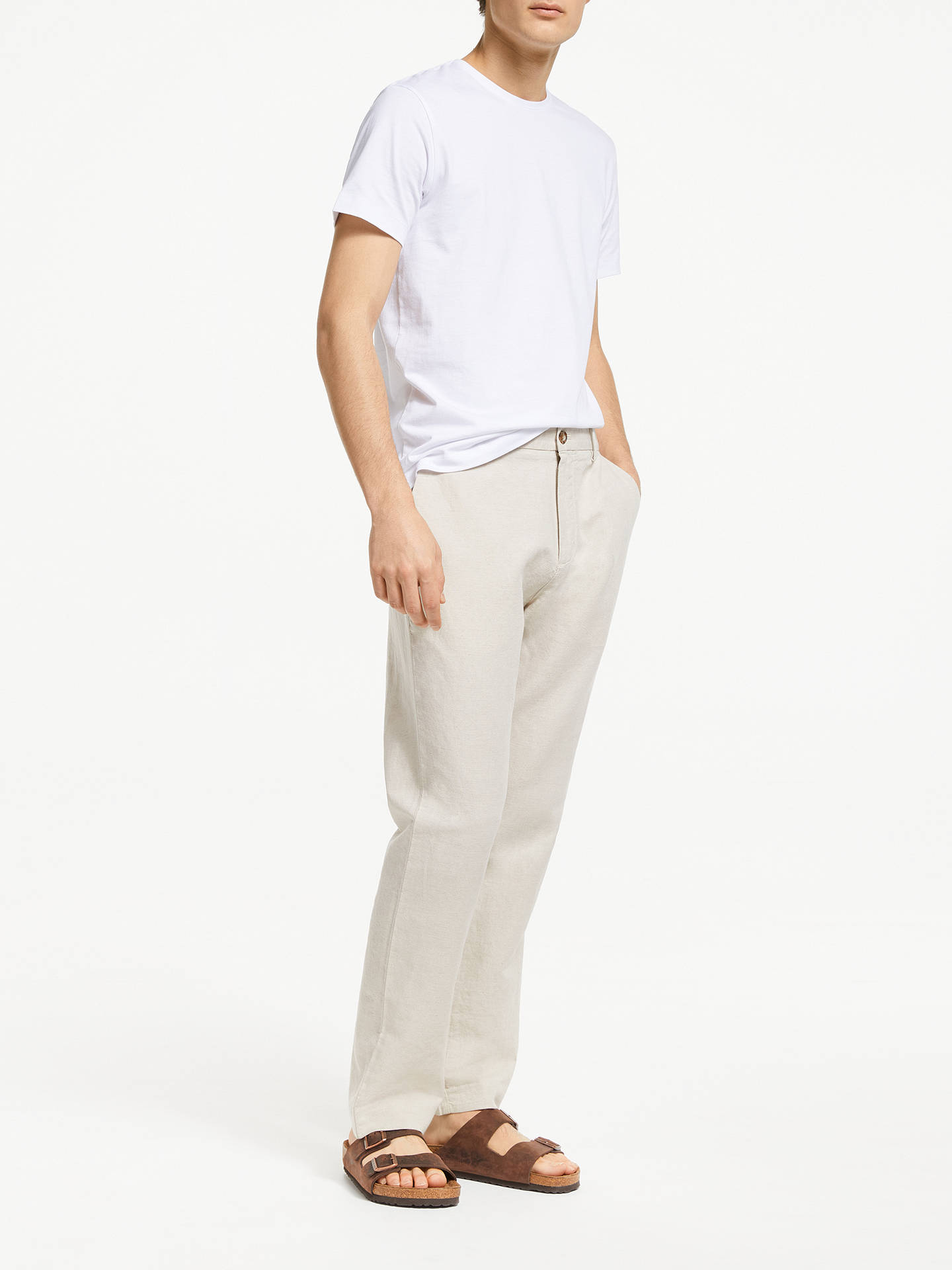 Buy John Lewis & Partners Linen Cotton Trousers, Natural, 38S Online at johnlewis.com