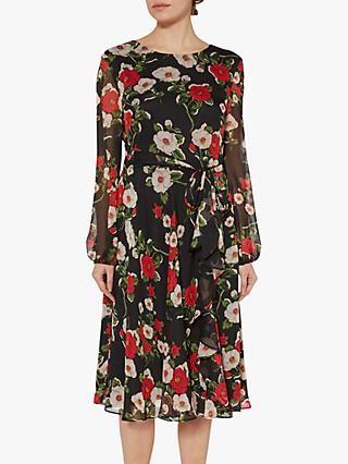Gina Bacconi Esmeralda Chiffon Dress, Black/Red