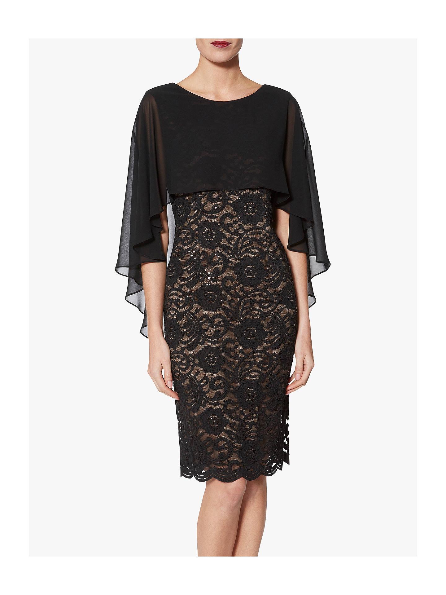 6146b285383398 Buy Gina Bacconi Athena Lace Dress With Chiffon Cape