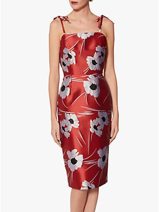 Gina Bacconi Kadie Jacquard Dress With Tie Straps, Red/Black