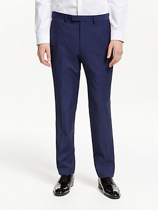 Kin Jacquard Weave Slim Fit Dress Suit Trousers, Blue