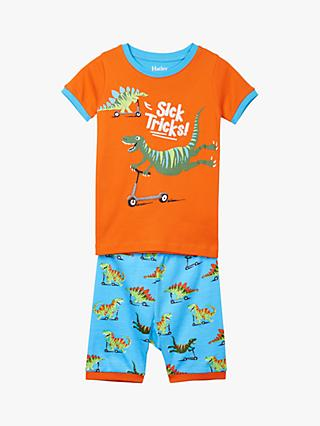 Hatley Boys' Scooter Dinosaur Short Pyjamas, Orange/Blue