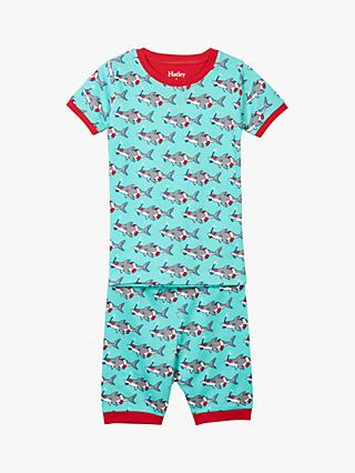 Hatley Boys' Snorkelling Sharks Print Short Pyjamas, Blue