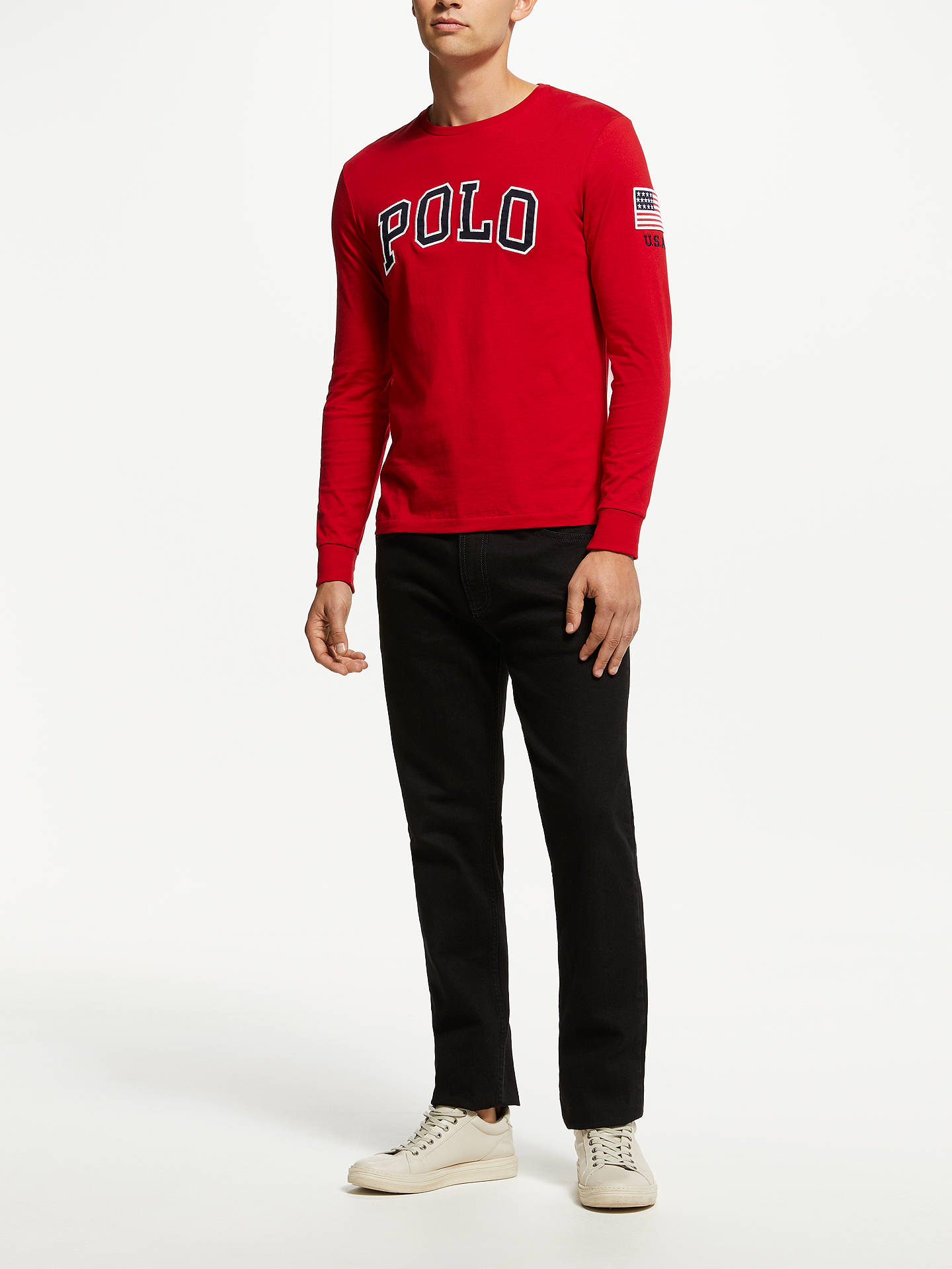 Buy Polo Ralph Lauren Long Sleeve Logo T-Shirt, Blue, L Online at johnlewis.com