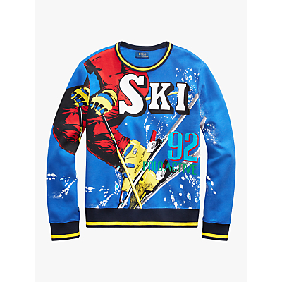 Polo Ralph Lauren Graphic Crew Neck Sweatshirt, Blue/Multi