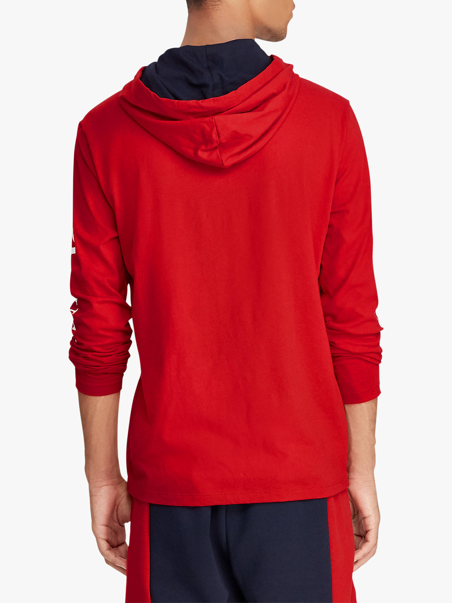 BuyPolo Ralph Lauren Ski Hooded T-Shirt, Red, L Online at johnlewis.com