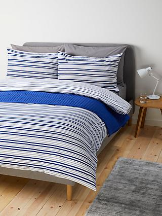 House by John Lewis Basic Stripe Duvet Cover Set, Navy / Grey