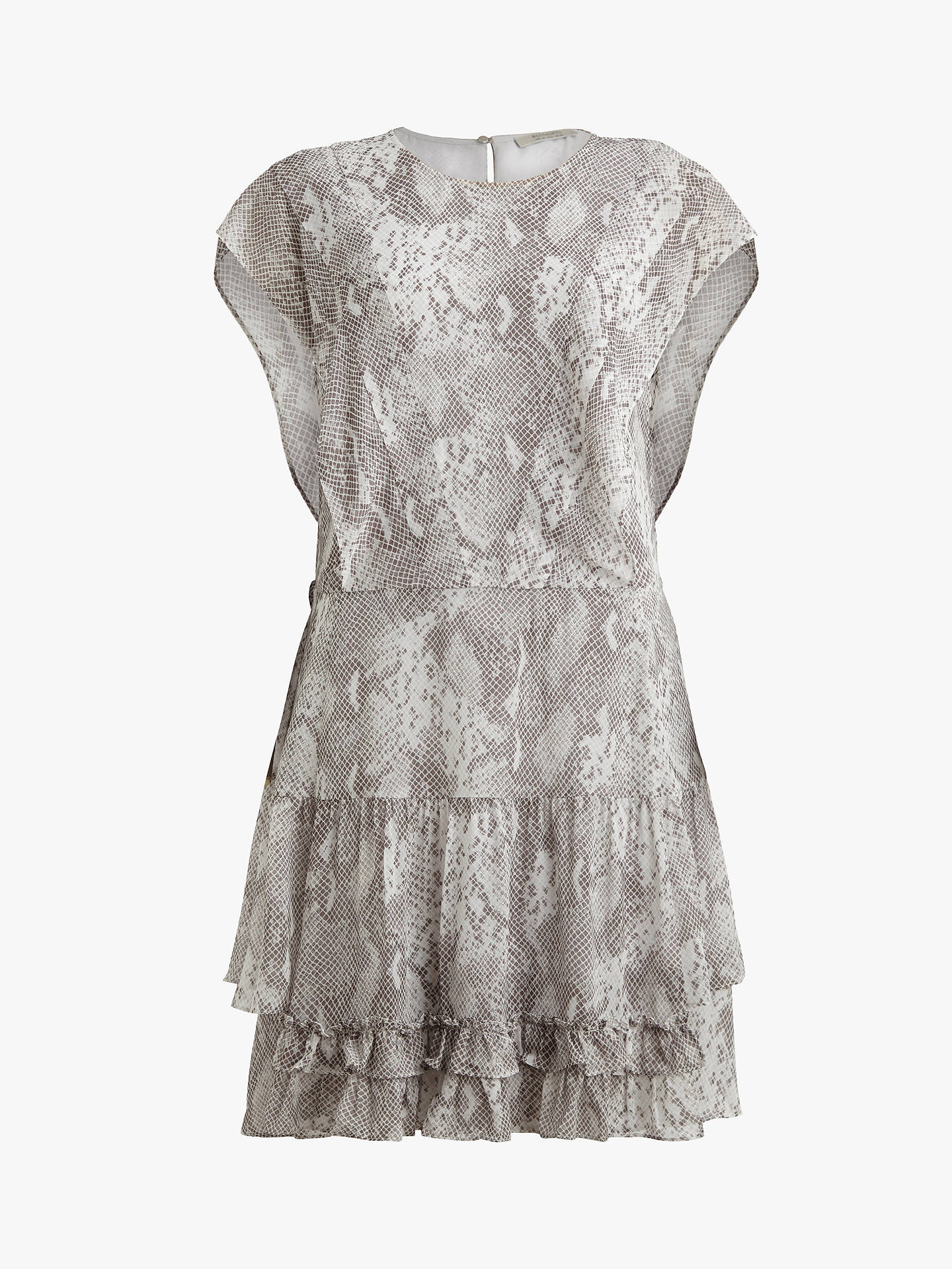 Buy AllSaints Evely Snake Print Dress, Pale Grey, 10 Online at johnlewis.com