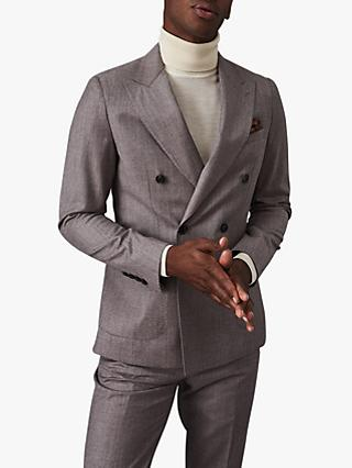 Reiss Welder Double Breasted Wool Slim Fit Suit Jacket, Taupe