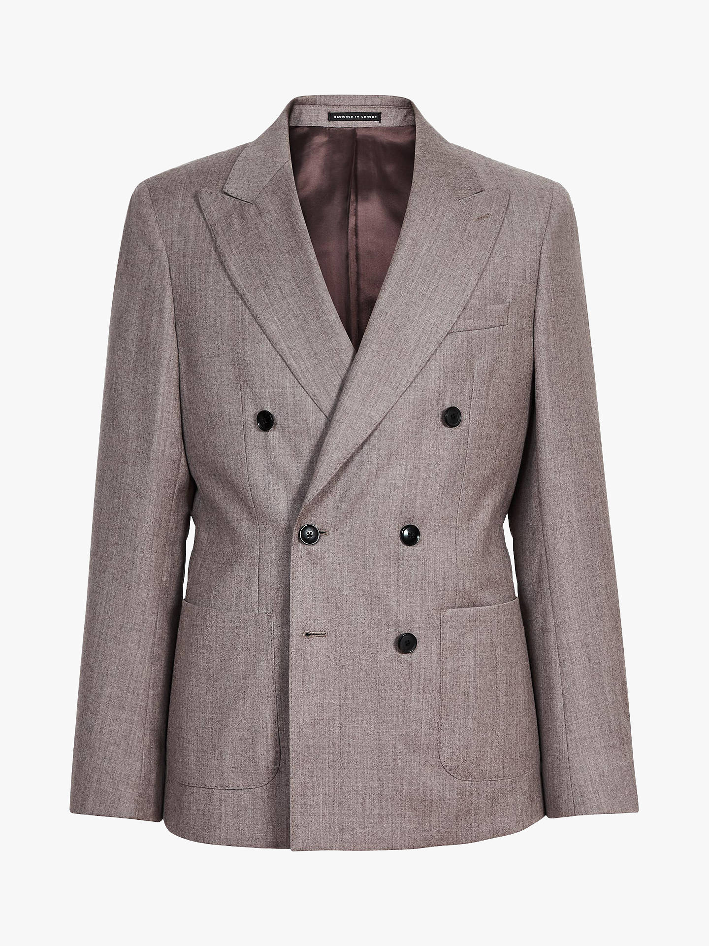 BuyReiss Welder Double Breasted Wool Slim Fit Suit Jacket, Taupe, 42R Online at johnlewis.com