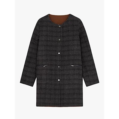 Gerard Darel Boat Neck Button Up Macy Coat, Grey Multi