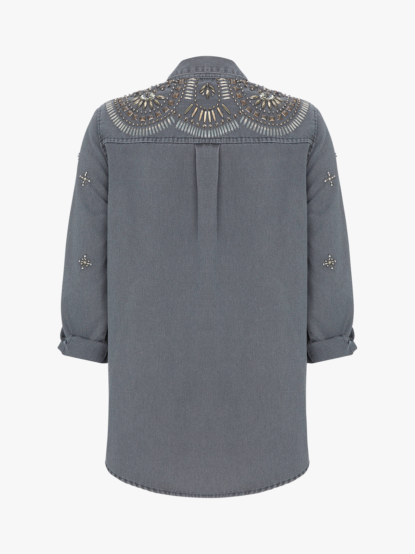 cheap sale new lifestyle low price sale Mint Velvet Charcoal Embellished Shacket, Dark Grey at John ...