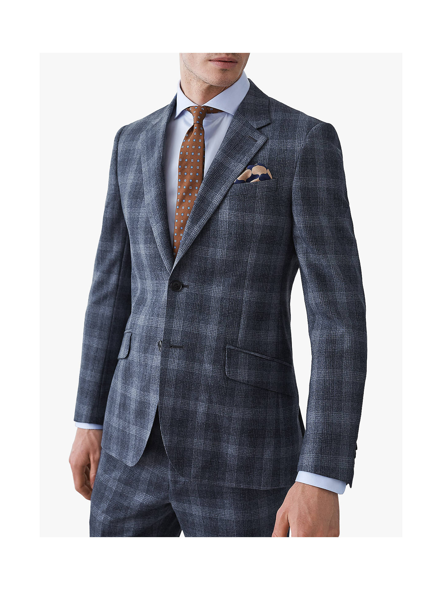 BuyReiss Bondi Wool Check Slim Fit Suit Jacket, Airforce Blue, 36R Online at johnlewis.com
