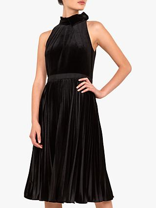 Ted Baker Cornela Pleated Velvet Midi Dress, Black