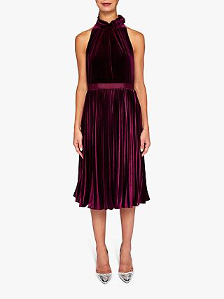Ted Baker Cornela Halterneck Midi Dress, Red Bordeaux