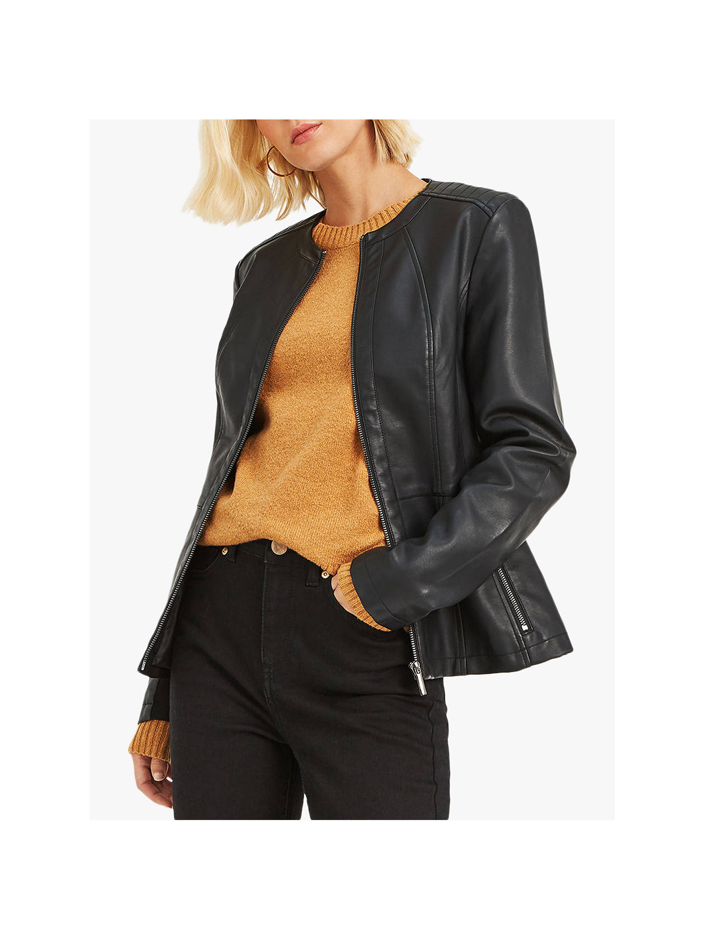 4be3cc89e2d3 Buy Oasis Faux Leather Collarless Jacket, Black, S Online at johnlewis.com  ...