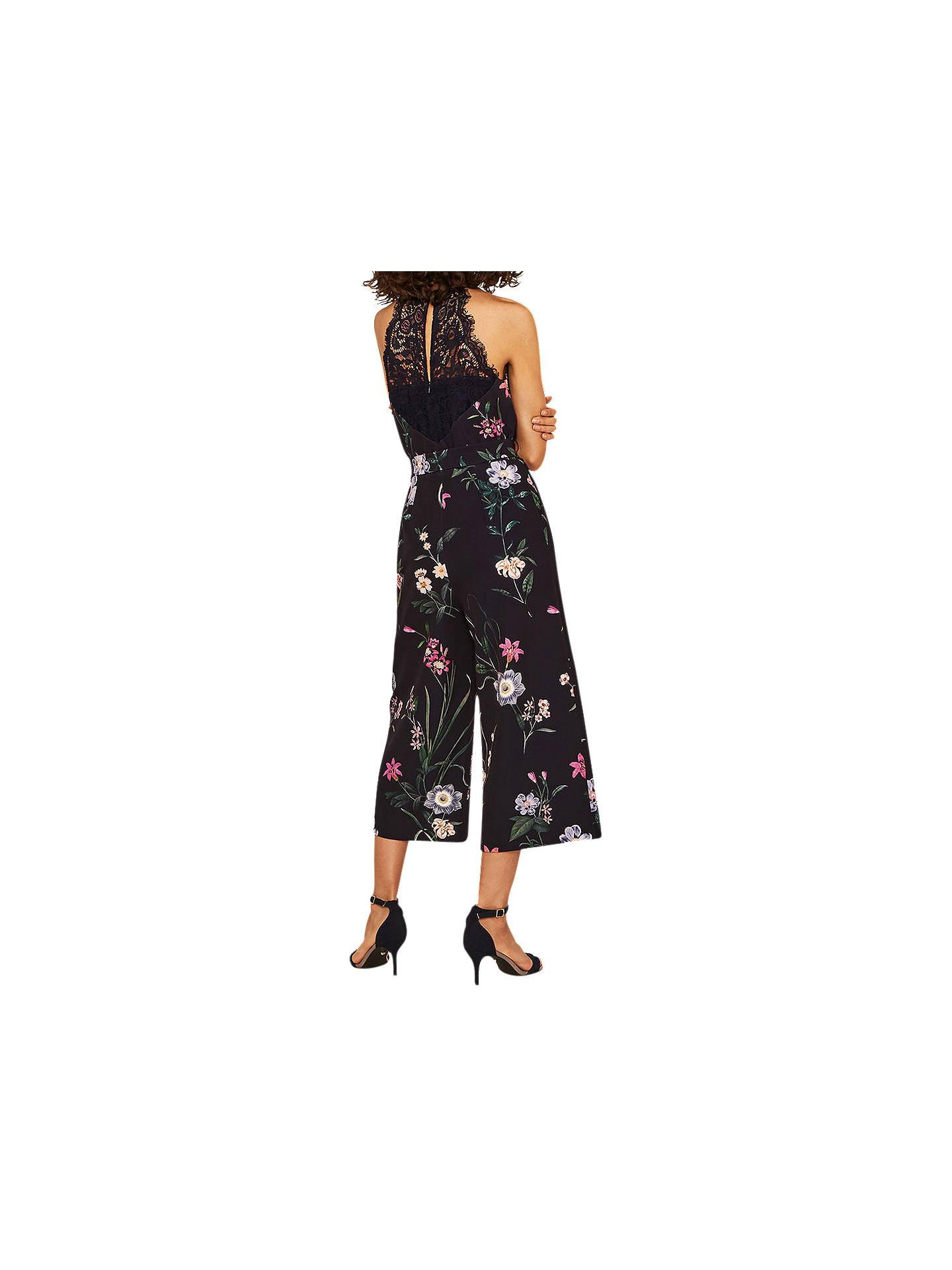 cfa2bb32cd48 Buy Oasis Floral Lace Back Jumpsuit, Multi/Blue, 14 Online at johnlewis.